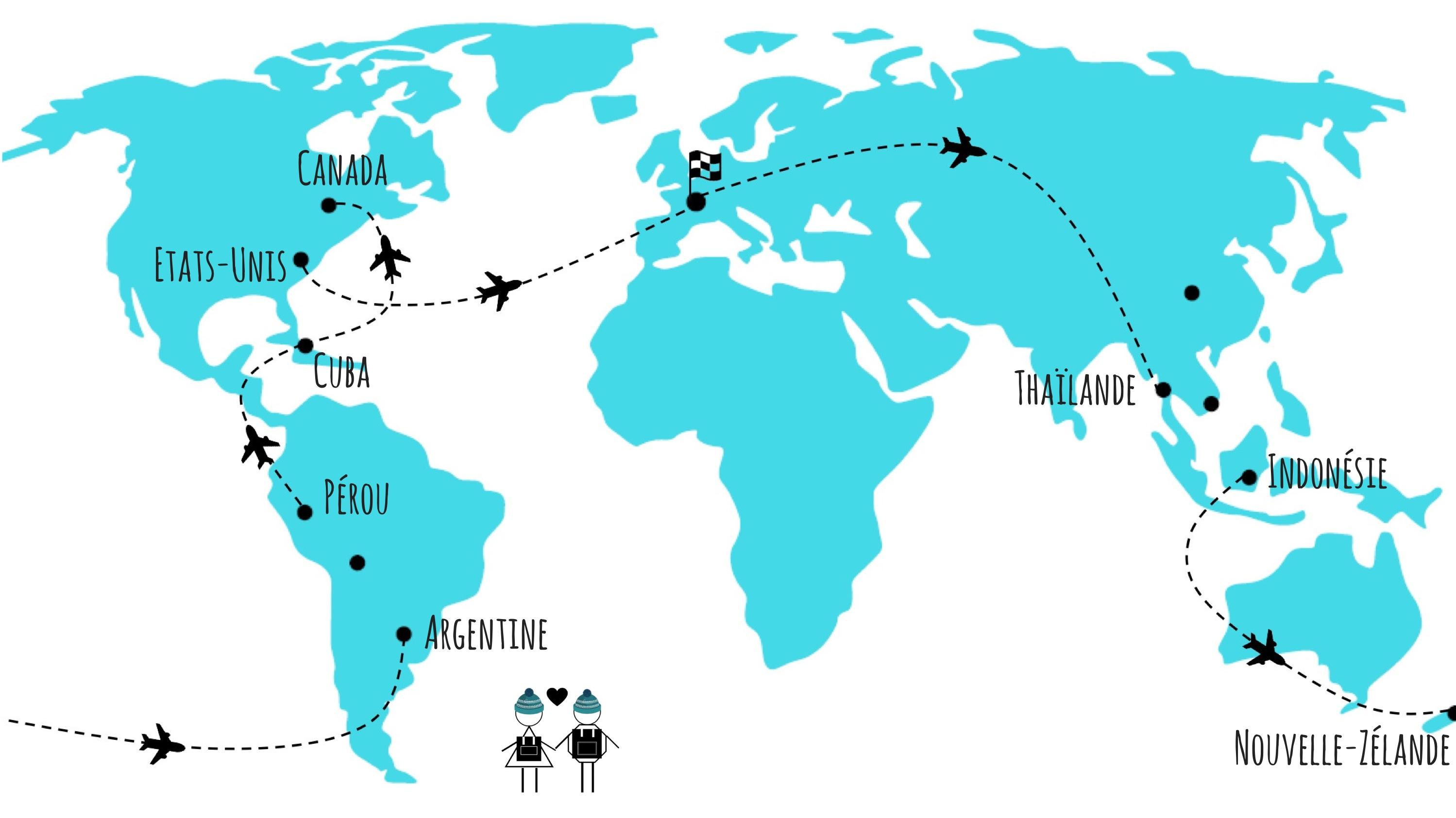 itinéraire avion tour du monde
