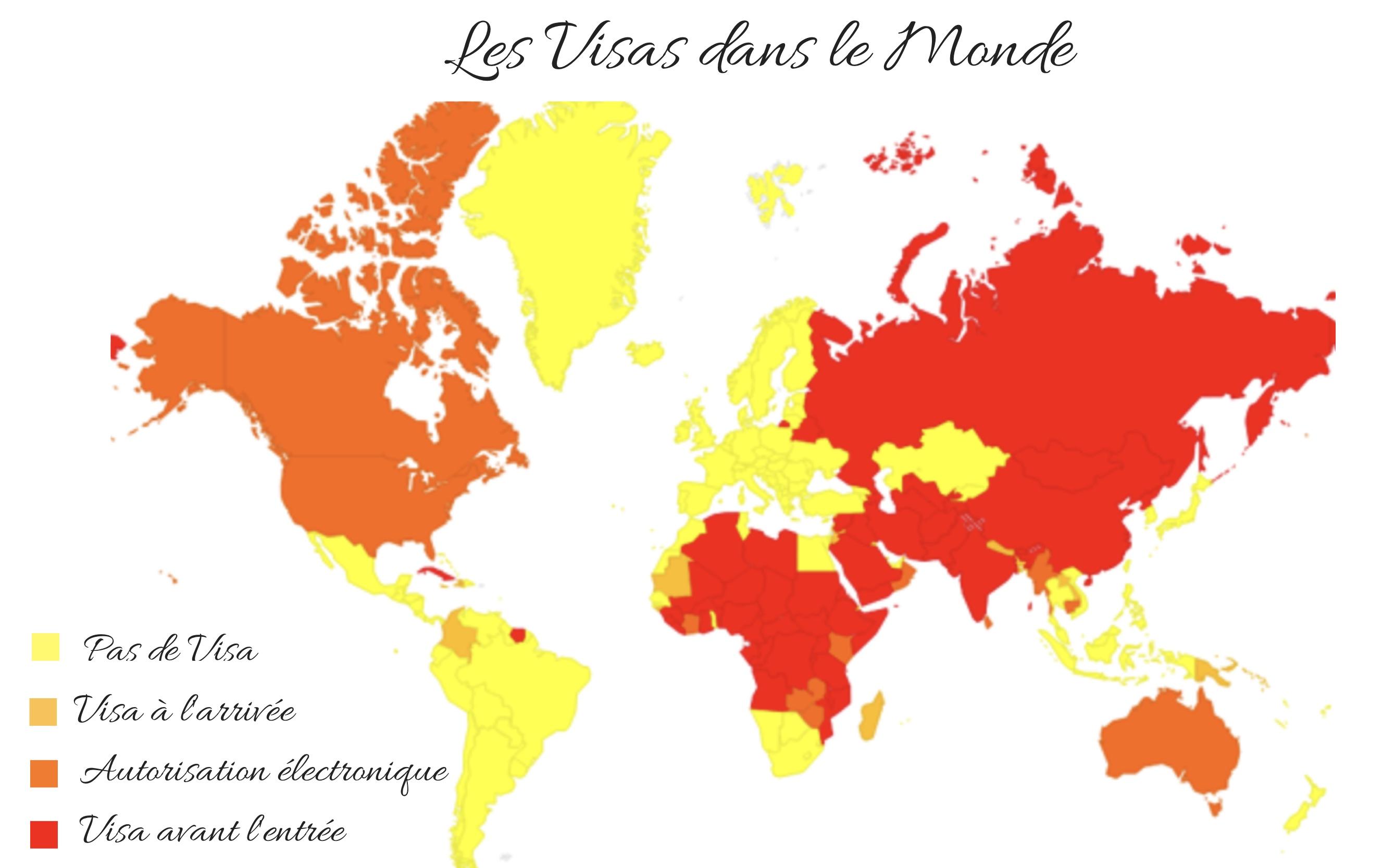 carte visas obligatoire pays voyage
