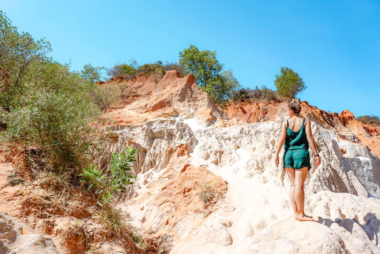 Canyon rouge de mui né à pied
