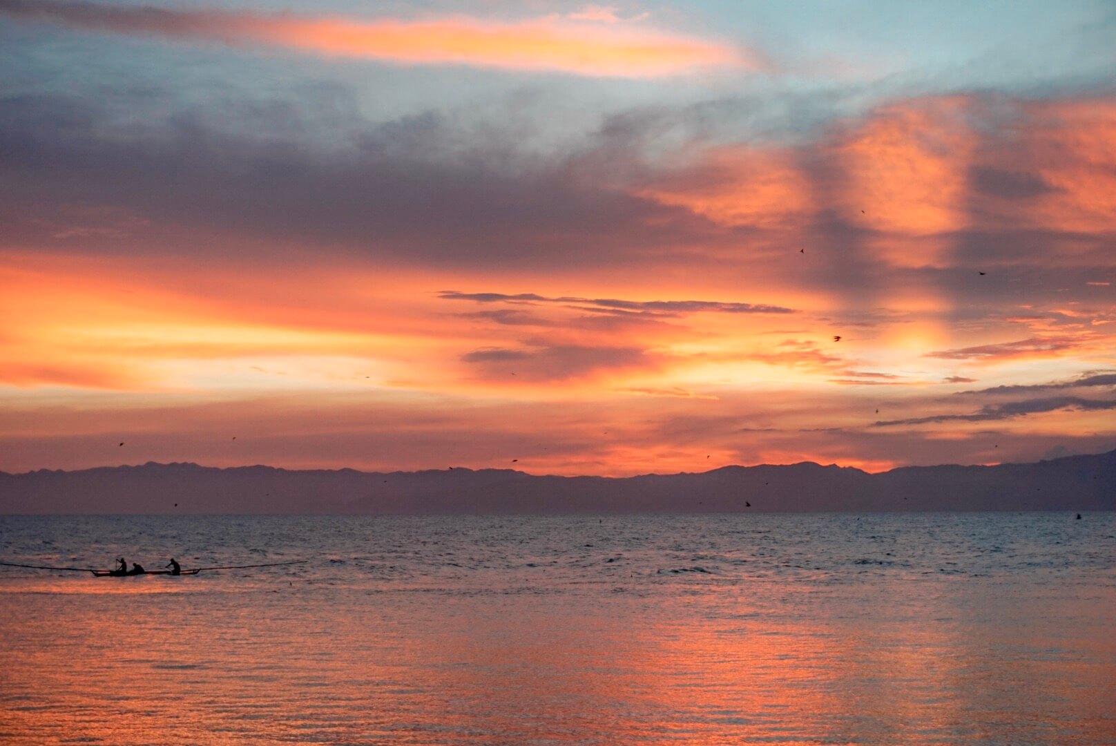 Coucher de soleil Moalboal Philippines