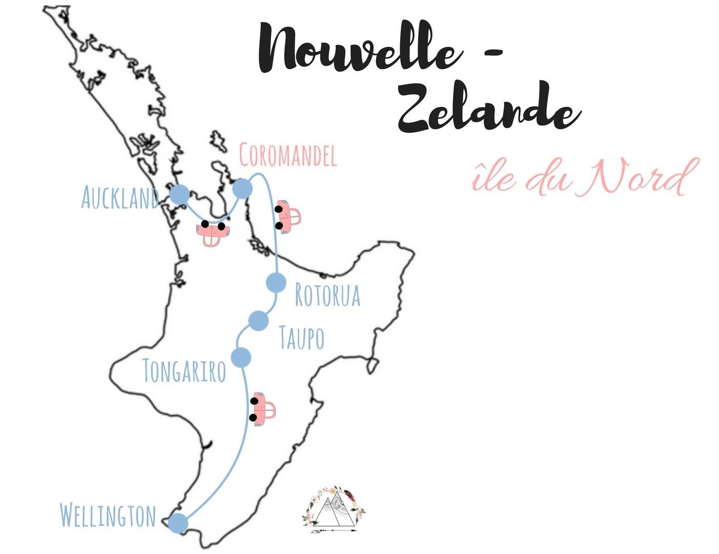 Itinéraire via coromandel l'ile du sud de la nouvelle Zélande en 10 jours en van