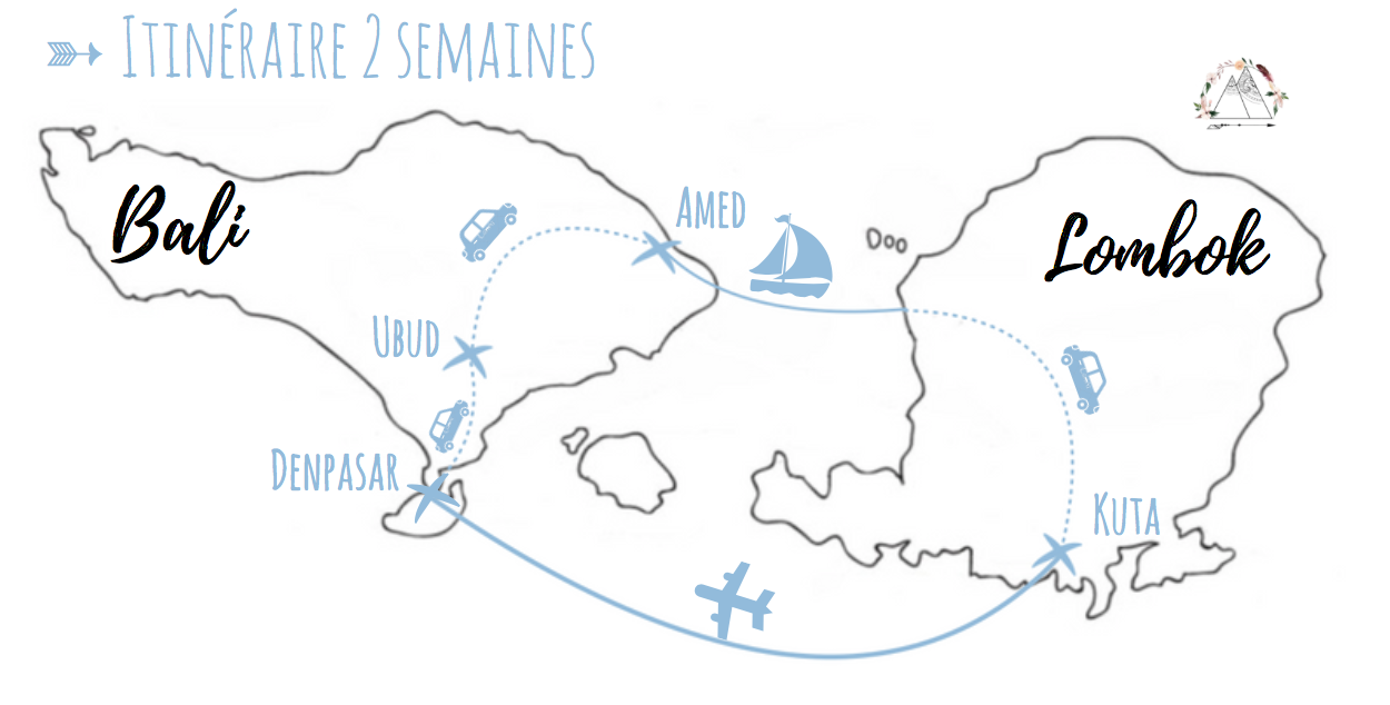 notre itinéraire pour 2 semaines en Indonésie Bali Lombok