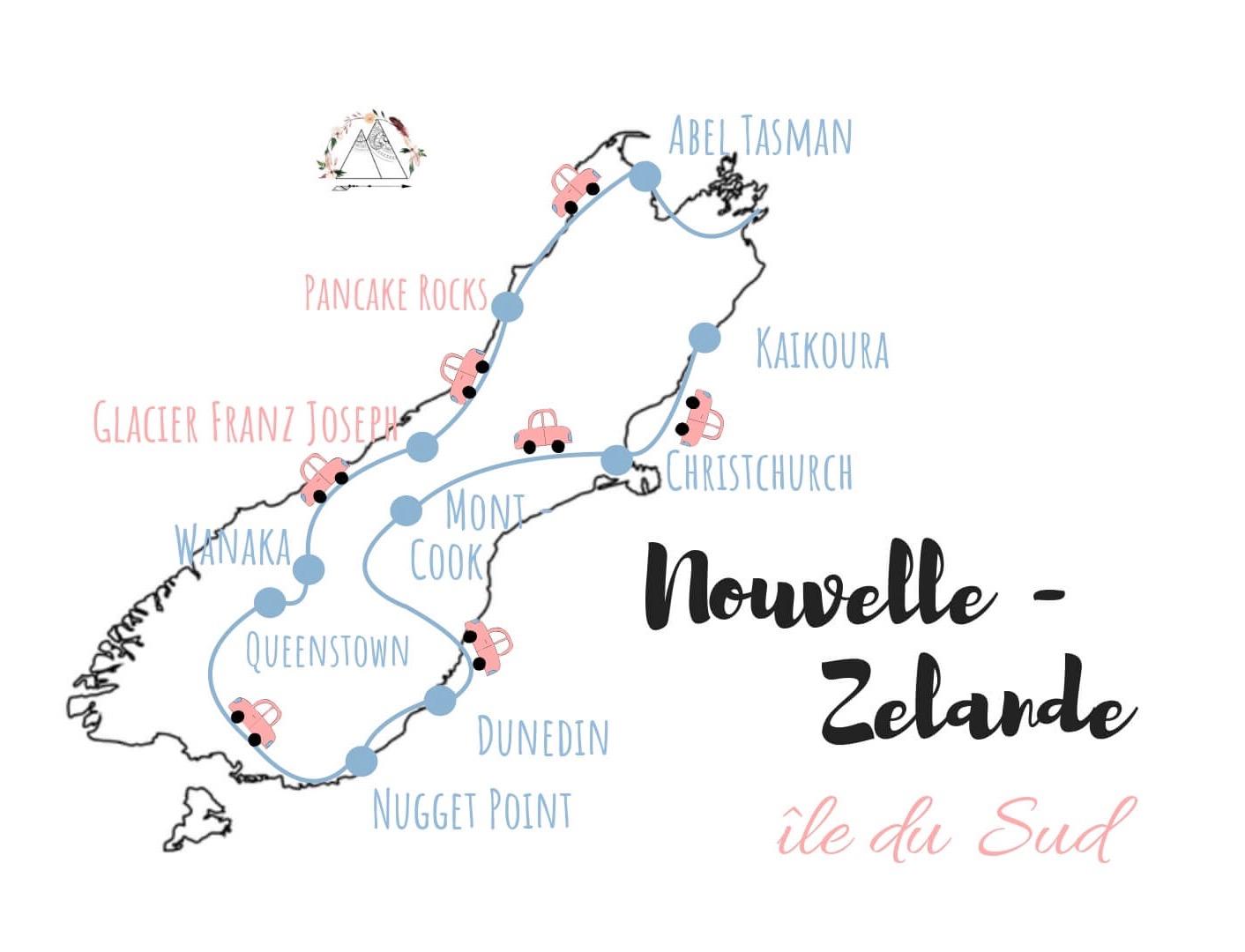 notre itinéraire en van sur l'ile du sud de la nouvelle zelande