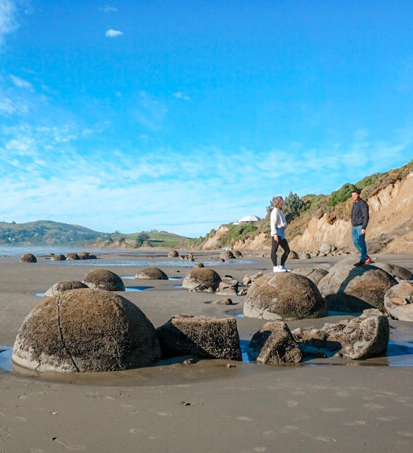plage moeraki boulders pierre rondes nouvelle zelande