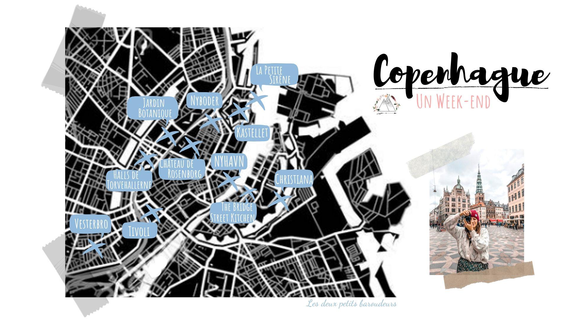 carte itinéraire visiter copenhague points intérêt